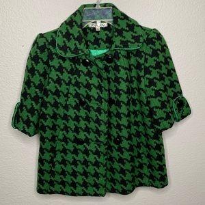JOY JOY Green Houndstooth Cropped Pea Coat